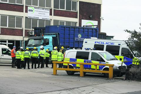 Police and other agencies pictured at EMR in Swindon checking for stolen metal as part of Operation Tornado