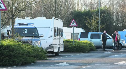 Travellers at the Wroughton Park and Ride site