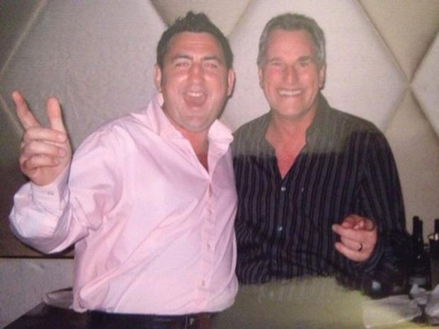 Jed McCrory (in pink) pictured with former England international goalkeeper Ray Clemence