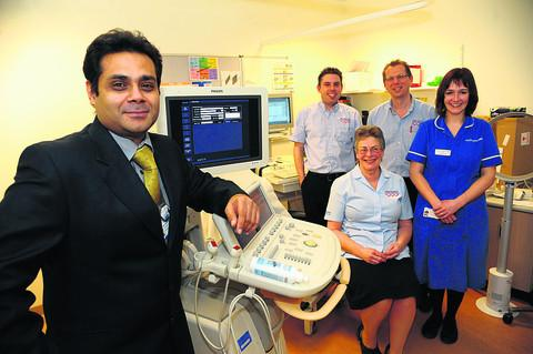 The echocardiography team at GWH. From left, team leader Badrinathan Chandrasekaran, Trystan John, Sue King, Simon Brader and Harriet McCullough