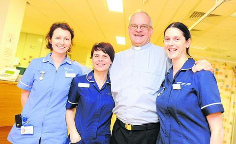 Some of the Cardiac Rehab Team who won last year, with their nominator the Rev Trevor Day. From left, Agnes Kopanska, Michelle Carpenter, the Rev Day and Stephanie Taylor