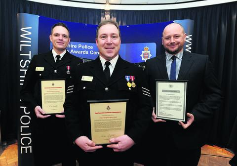 From left, Constable Matt Barnett, Sgt Barry Reed and Constable Paul Bezzant receive their awards at police headquarters in Devizes