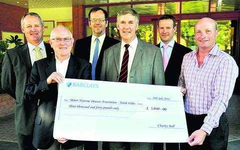 Rotary Club of Swindon Charity Ball 2012 cheque presentation at the Marriott Hotel.  From left, Ian Sharpe, Bob Perry, Graham Gee, Michael Armstrong, Adam Flint and Tim Hardey