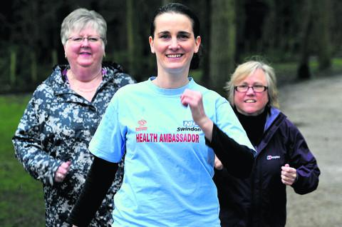 Swindon Advertiser: Swindon Council health ambassador Mel Bond front, with Annette Elwood, and Jacqui Stevens