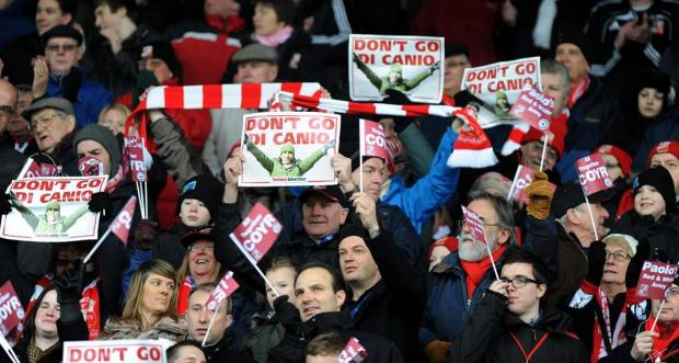 TRIBUTE: Town fans back Paolo Di Canio during the Hartlepool game