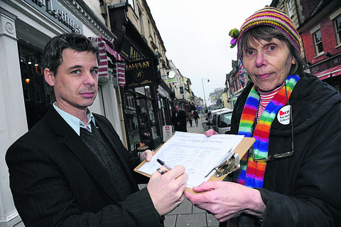 Neil and Shirley Burnham with the petition