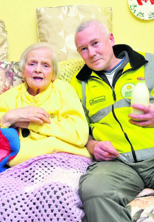 Milkman Pete Edmondson rescued Peggy Thomas after he found her collapsed on the floor of her home