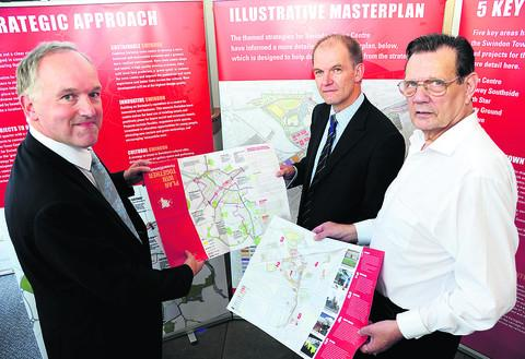 Launch of Swindon town centre masterplan exhibition at Swindon central library last year. From left, Swindon Council leader Rod Bluh, Ian Piper (CEO of Forward Swindon ) and Councillor Garry Perkins