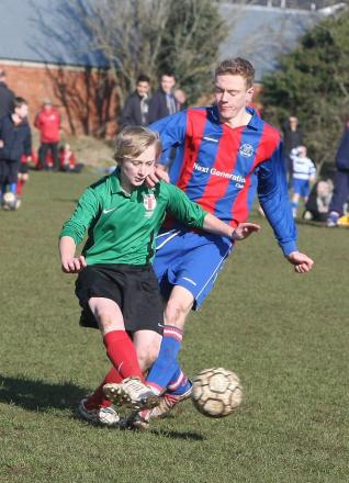 Croft's Jacob Wilts, right, puts a tackle in against Highworth's Jay Fenwick