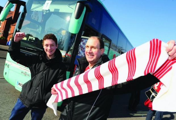 Swindon Advertiser: Travelling support Setting off for Tranmere are Daniel Pretlove and Gary Pretlove.  Pictures: DAVE COX