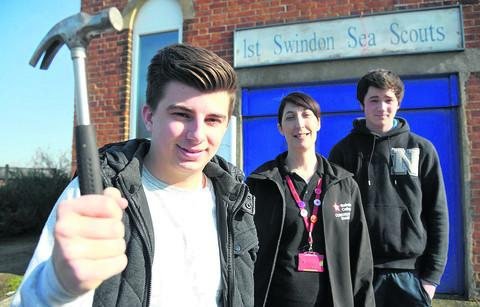 Students from Swindon College are set to redecorate the Sea Scout Hut in Haydon Wick. Pictured are Reece Bowler, Angela Woolford and Jordan Watts