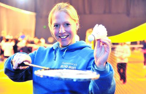 GB badminton star Gail Emms was at Next Generation yesterday with children from the Swindon School Sports Partnership
