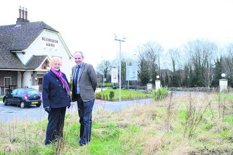 Coun Vera Tomlinson and MP Justin Tomlinson at the site behind the Blunsdon Arms