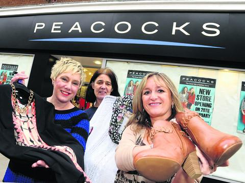 From left,  Peacocks manager Sharon Peart, Diane Thompson and regional manager Julie Morgan