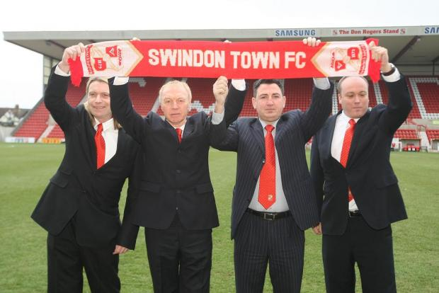 LET'S GET TO WORK: Town's new board members at the County Ground yesterday, l to r,  Callum Rice, Gary Hooper, Jed McCrory and Steve Murrall