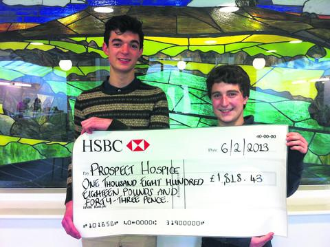 Callum Blunt, left, and Joel Garcia have entertained fellow students, friends and family and raised vital funds for Prospect Hospice