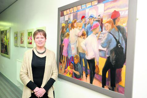 Juliet Wood at her exhibition at Swindon College