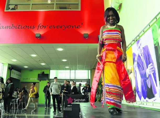 COLOUR CO-ORDINATED Students taking part in the Swindon College fashion show             Pictures: DAVE COX