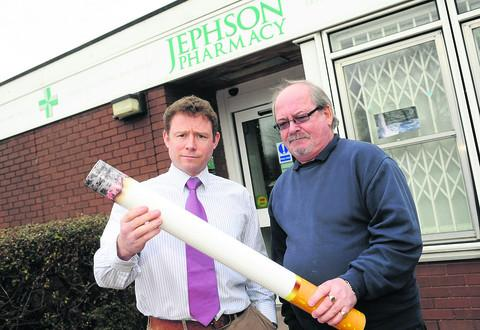 Pharmacist Nick Jephson, left, and Tim Benson who quit smoking four years ago with Nick's help