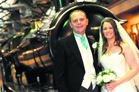 Coun Mark Edwards and Debbie Baylies on their wedding day at Steam last year