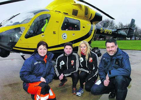 Paramedic Joanne Munday, Adam Wainwright, Corrinne Davis and Nigel Gilbert. Adam and Corrinne are running from the County Ground to Yeovil Town to raise money for the Air Ambulance
