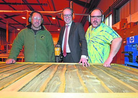 Jez Webb, MP Justin Tomlinson and Chris Chidsey at Enterprise Works