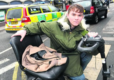 Conor Lawrence, son of David Lawrence, who was knocked off his mobility scooter in Newhall Street on Saturday