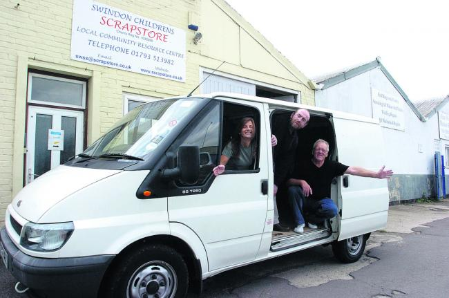 Swindon Children's Scrapstore with the van which they got from Gannett in 2009. From left, Olivia McCann, John Webb and Nigel Styles. Their larger van is vital to their work and needs  £1,500 worth of repairs.