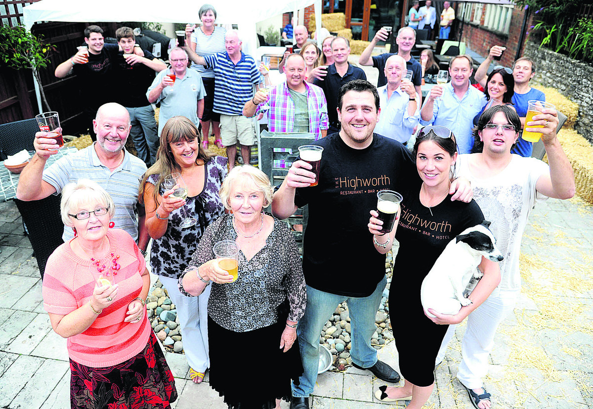 Michael Clitheroe and Pauline Gibson are pictured (front right) at the Highworth Beer Festival