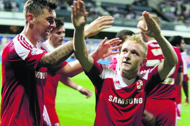 Swindon Advertiser: Swindon's Alex Pritchard scores Swindon's second goal of the evening to beat QPR 2-0 in the League Cup