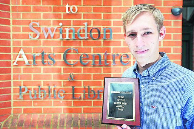 Chris Robins with his Pride of Swindon Award. Picture: THOMAS KELSEY