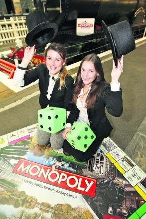Ashleen Lavender and Rachel Duffy at the launch of Monopoly: Swindon Edition