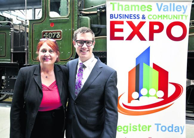 Allison Dodd and Alec Jones-Hall promote their business, Thames Valley Expo at the Steam Museum