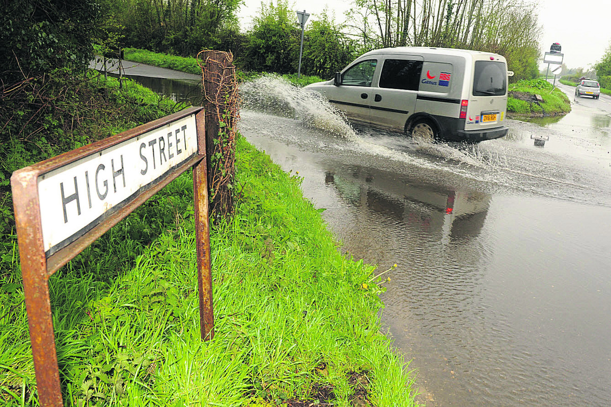 Wanborough High Street during last year's floods