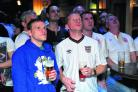England fans watch their heroes on the big screen at The Steam Railway pub in Old Town
