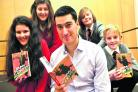 Author Joe Craig during his visit to St Joseph's College as part of last year's Youth Literature Festival with Jessica, Leahann, Olgierd and Dominic