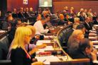 Councillors at the meeting on Thursday during which the bedroom tax was discussed