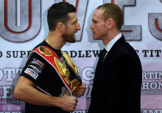 Carl Froch, left, and George Groves will square off for the second time tomorrow night