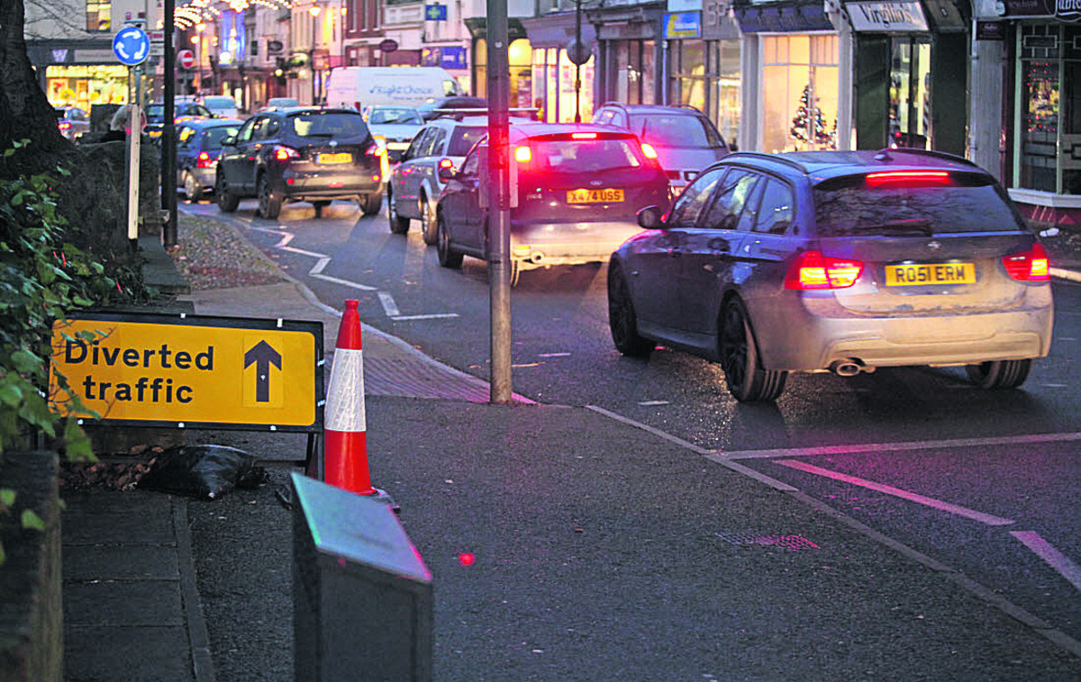 Traffic jams along Devizes Road, Old Town, as a result of the road diversions due to the new Waitrose supermarket which is under  construction at the Wichelstowe development