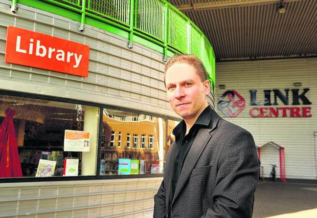 Coun Keith Williams, outside West Swindon library
