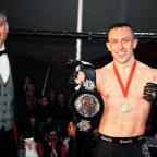 Swindon Advertiser: Richard Buskin after winning the lightweight UFW champion belt