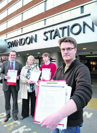 Chris Watts campaigning against a previous fare rise at Swindon Train Station. Pictured with him gathering a petition are back, left to right, Mark Dempsey, Anne Snelgrove and Kiran Dickinson