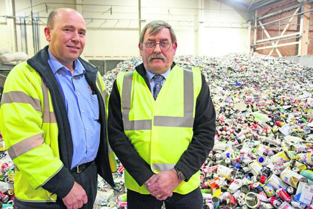 Waste and recycling supervisor Paul Warren and Richard Hurley, the Cabinet member for housing and public protection at the Waterside Recycling Centre in Cheney Manor