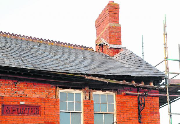 The former Three Tuns pub, in Wroughton, which is  is being turned into a Morrisons store has suffered roof damage in the high winds