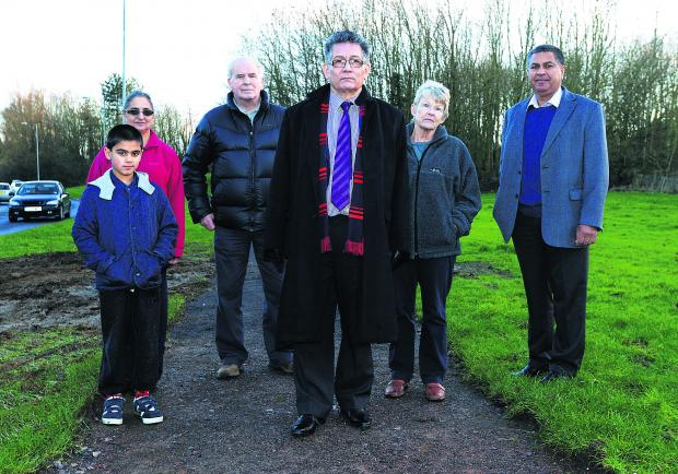 Residents have campaigned to get a footpath upgraded from Liden to the hospital. Pictured are Randeep Grewal, Jasbinder Grewal, John Macclay, Coun Derique Montaut, Caroll Skiggs and Jas Grewal