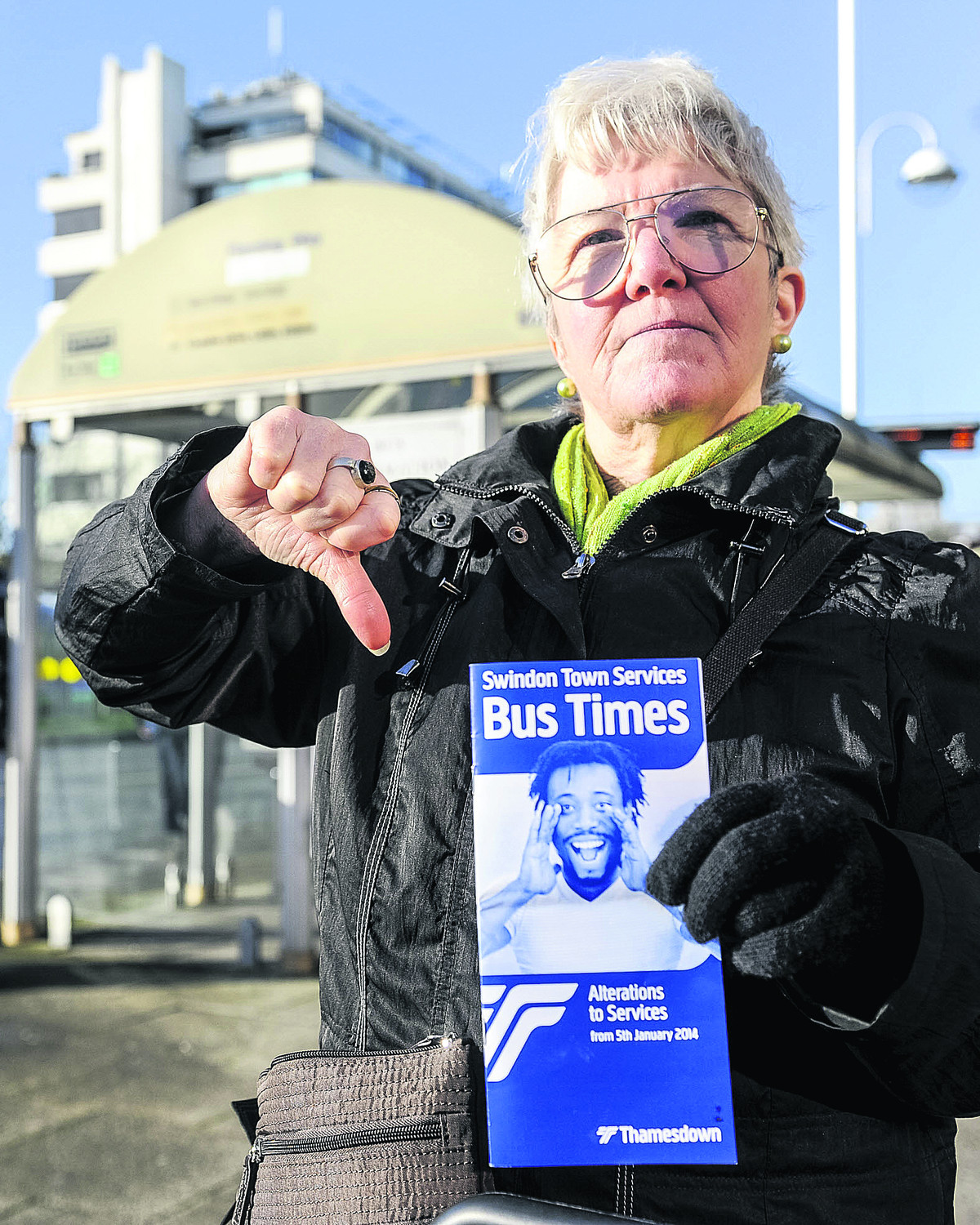 Linda Meadows at Fleming Way Bus stop Picture: Alex Skennerton