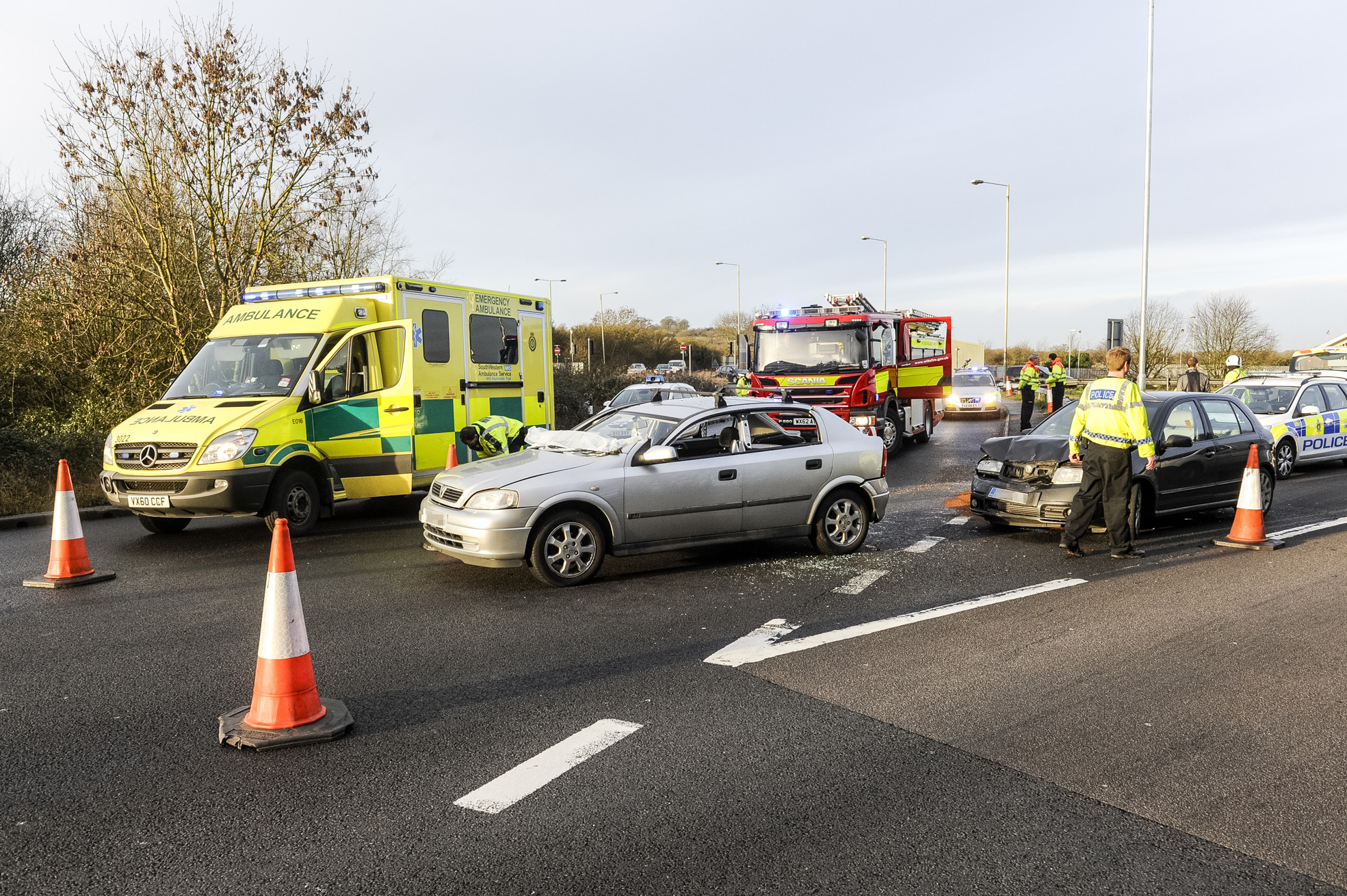 The wreckage of Penny Smith's Vauxhall after the accident near Junction 15 of the M4 yesterday