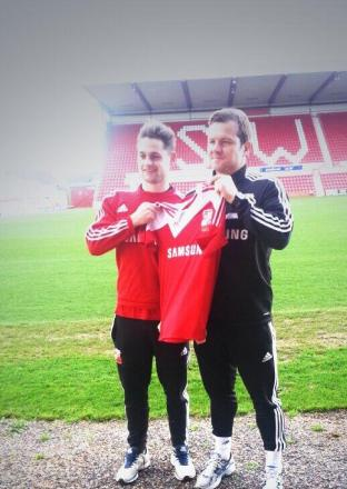 George Barker and Swindon Town manager Mark Cooper