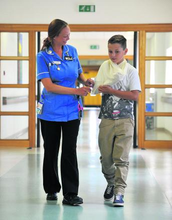 Leoni Monet with Callum Davies at the Great Western Hospital