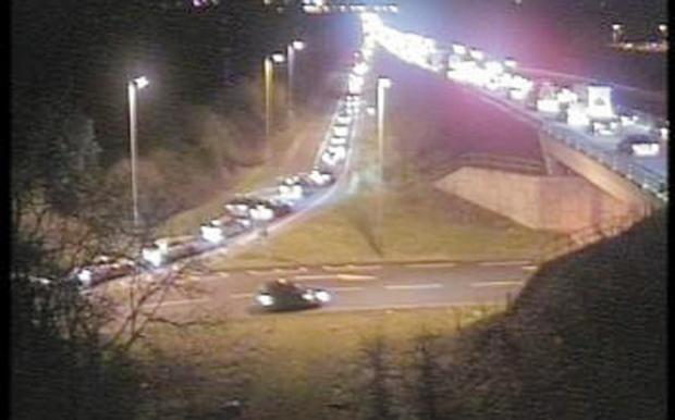 Traffic builds up following the accident on the A419